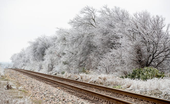 Trees are covered in ice along some railroad tracks on McNeil Road in Round Rock on Feb. 12.