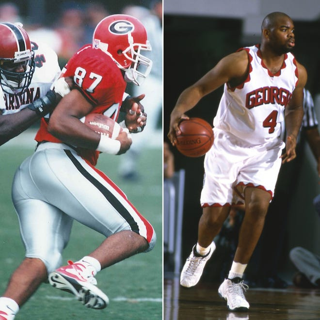 Former UGA football TE Larry Brown was also a center on the Bulldogs' basketball team. He was a member the 1996 UGA hoops team, the last in program history to reach the Sweet 16. (Photos courtesy UGA Sports Communications)
