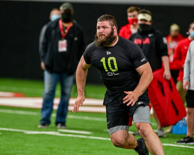 Georgia offensive lineman Ben Cleveland (74)  during Georgia's 2021 NFL Pro Day inside the William Porter Payne and Porter Otis Payne Indoor Athletic Facility in Athens, Ga., on Wednesday, March 17, 2021. (Photo by Rob Davis)
