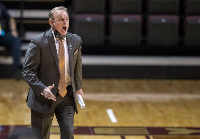Texas head coach Vic Schaefer calls out plays to his team during Monday's 81-62 NCAA Tournament win over Bradley. It was Schaefer's first tourney win at Texas and the program's first since 2018.
