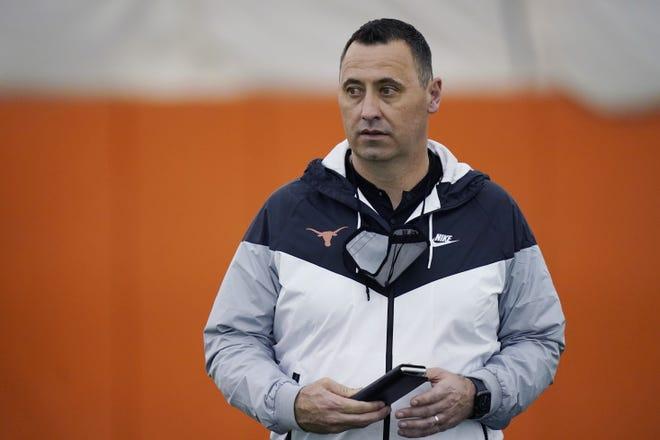 Texas head football coach Steve Sarkisian during the school's Pro Day, Thursday, March 11, 2021, in Austin, Texas.