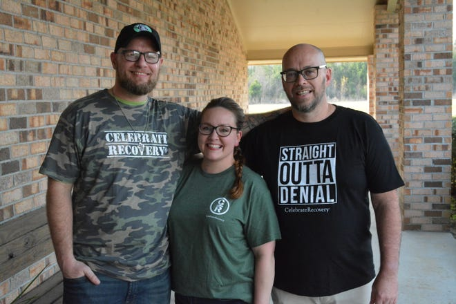 Pictured are Jeremy and Corie Holly, along with Pastor Brian Trent, at right, who are working to bring Celebrate Recovery to Hampton County.