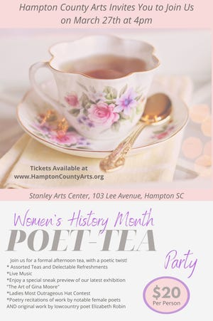 The Hampton County Arts Council is hosting a poetry tea party.