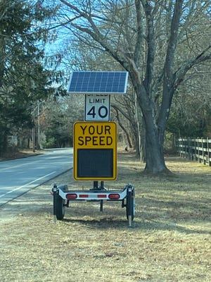 New to the village: A portable radar trailer speed monitor, shown here on its last mission in Marstons Mills, is now in place along Main Street, Centerville across from the 1850 Country Store and en route to Craigville Beach.