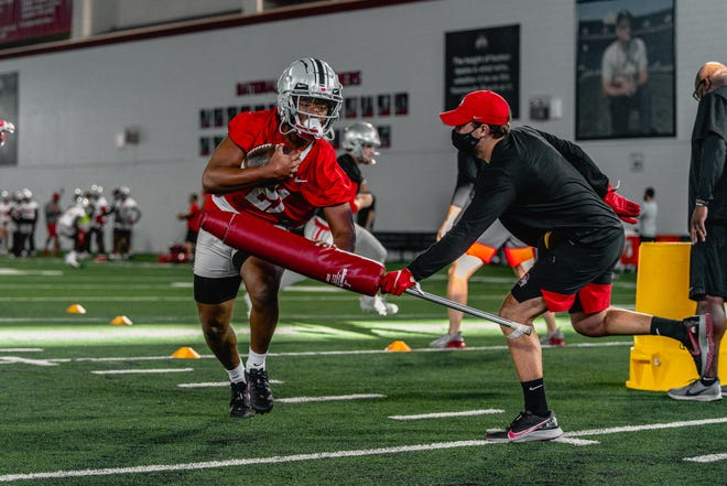 Ohio State freshman running back Evan Pryor participates in a contact drill during a recent spring practice.