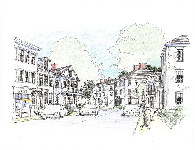 The proposed expansion of Mashpee Commons includes a mix of housing types and businesses. COURTESY OF MASHPEE COMMONS