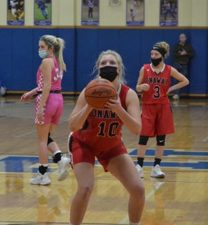 Senior center Breya Domke (10) finished with 23 points and 14 rebounds to help lead the Onaway girls basketball team to a 45-44 district first-round victory over Hillman in Wolverine on Monday night.