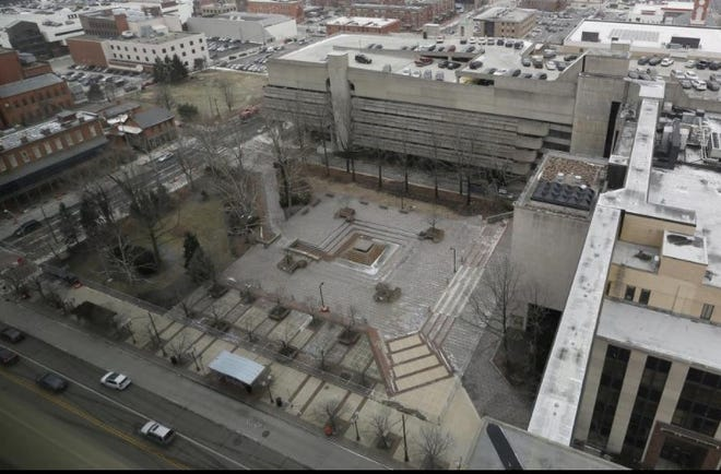 Dorrian Commons Park as seen from the existing Franklin County Municipal Court building at 375 S. High St.