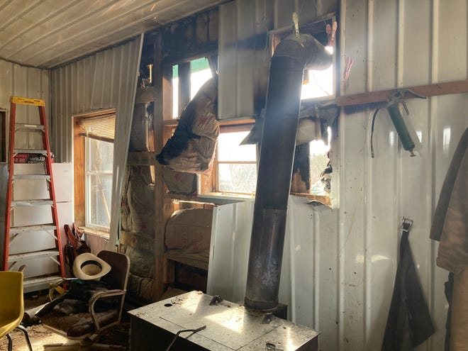 An exterior wall at the Monkey Hill sawmill sustained moderate damage during a fire Monday morning. Workers using fire extinguishers were able to contain the spread of the fire until firefighters from three area departments arrived to douse the flames.