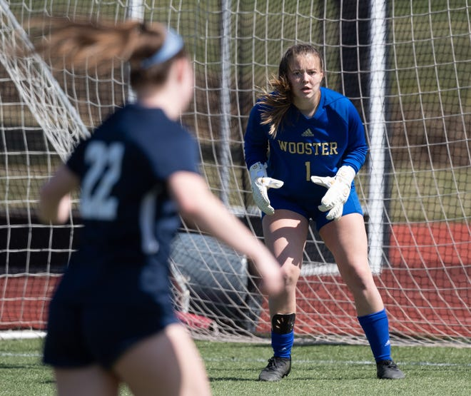 Wooster goalie Molly Hutter in goal against Hiram. She secured a shutout in the win.