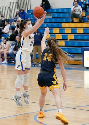 Madison's Calie Sower shoots a 3-pointer during a game against Whiteford in the 2021 season.