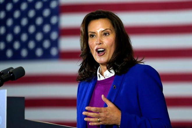 In this Oct. 16, 2020, file photo, Michigan Gov. Gretchen Whitmer speaks at Beech Woods Recreation Center, in Southfield.
