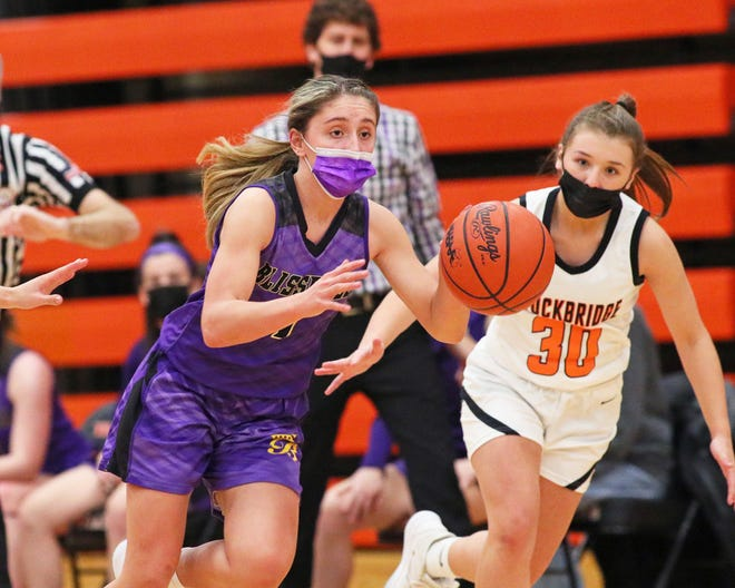 Blissfield's Avery Collins pushes the ball up the floor during Monday's district game against Stockbridge.