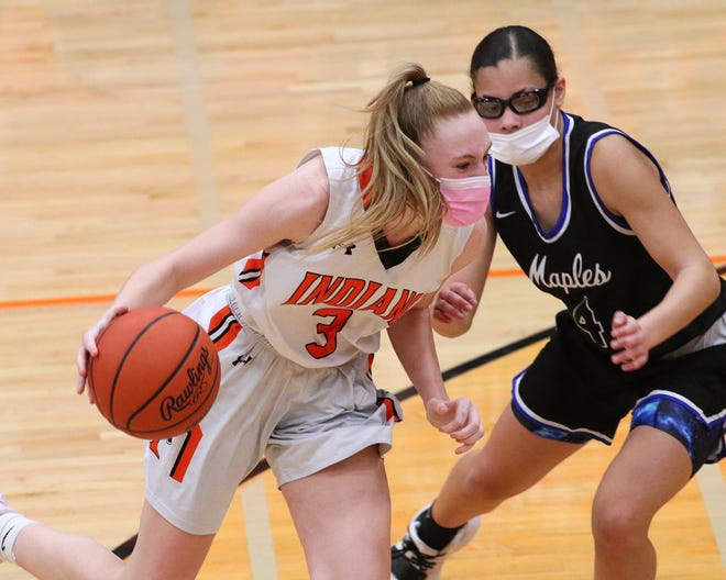 Tecumseh's Hailey Dennes handles the ball during Monday's district game against Adrian.