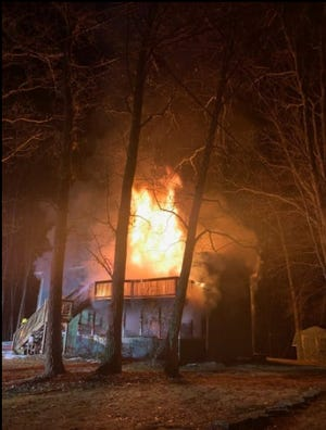 This house on Sunrise Avenue, Sunrise development in Tafton, burned Saturday night, March 20. A woman in the home died; a second occupant got out safely, Tafton Fire Company reports.