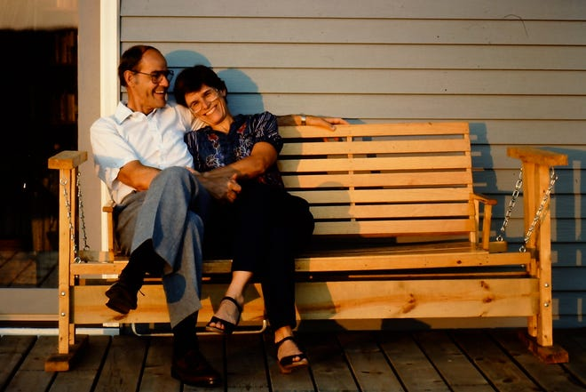 Rex and Nancy Woods, parents of Times-Union columnist Mark Woods, on their front porch sometime in the 1980s.