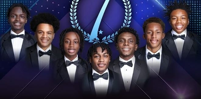 The seven young African American men participating in the 2021 Les Beautillion Militaire event are James Charles Henson II (from left), Jordan Howard Brendan Pearson, Marcus D'ron Gray, Carl L. Tremble Jr., Jordan Benjamin Cooley, Julian Brooks Smith and Jakobe Mitchell Stanford.