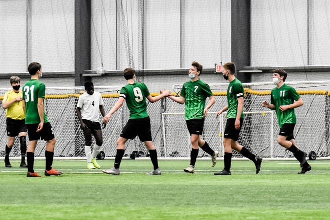 The Geneseo Maple Leafs outscored Galesburg 6-0 in a recent soccer game with Connor Nelson, left; Nate Holke, Ethan Holke, Hunter Holke and Matt Daly celebrating a goal in the win.