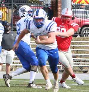 Polk County's Angus Weaver breaks loose for a big gain during a game earlier this year at Hendersonville. He had all three of Polk's touchdowns in Friday's win over Owen.
