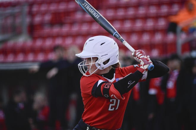 Texas Tech's Karli Hamilton (21) at bat against Kent State on Tuesday, Feb. 18, 2020, at Rocky Johnson Field in Lubbock, Texas.