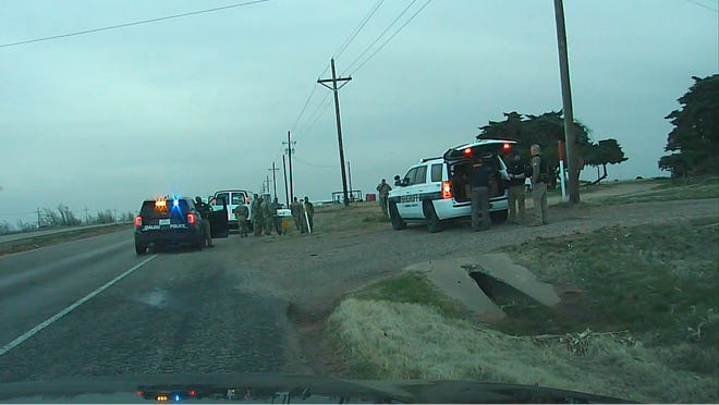 An image captured by Idalou Police Chief Eric Williams' dashboard camera after police arrested an Arizona man accused of holding at gunpoint 11 National Guardsmen 2 miles East of Idalou.