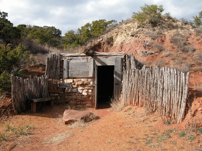Between 1870 and 1900 four-fifths of all Texans lived, at one point in their lives, underground in dugout homes. This replica of a dugout is located in Dickens County, where the original dugout was built by John Askins, an early Dickens pioneer.