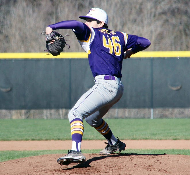 Camdenton junior Mitch Orozco fires a pitch towards home plate in a game against Eldon on March 19 in Camdenton.