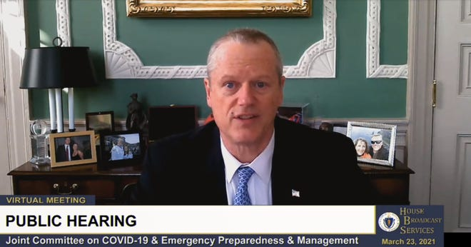A screenshot of Gov. Charlie Baker testifying before lawmakers about his administration's response to the coronavirus and the distribution of vaccines.