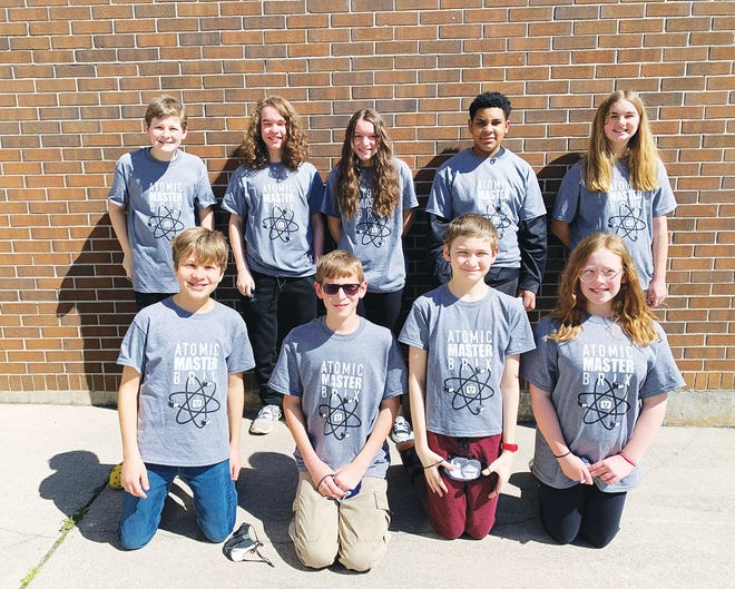 The award-winning Jefferson Middle School FIRST Lego League team is composed of top row, Harry Shanafield, from left, Henry Landau, Sydney Blanchard, Dominic Vasquez, and Halie Campbell. Bottom row, Juno Morrill, from left, Aaron Fiscor, Gabe Sherman, and Aubrey Kilpatrick.