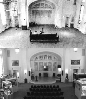 In 1991, the transformation of Utica's former Christian Science Church into the spacious new home of the Oneida County Historical Society, at 1608 Genesee St., Utica (today the Oneida County History Center), was completed. The upper photo shows the last pew in the former church sanctuary where the once sloping floor was leveled and carpeted. The lower photo shows the room today. The center's lower level – with an entrance on Avery Place – once was the church's Sunday school room. Today it is the home of the center's Col. Tharratt Gilbert Best Library.
