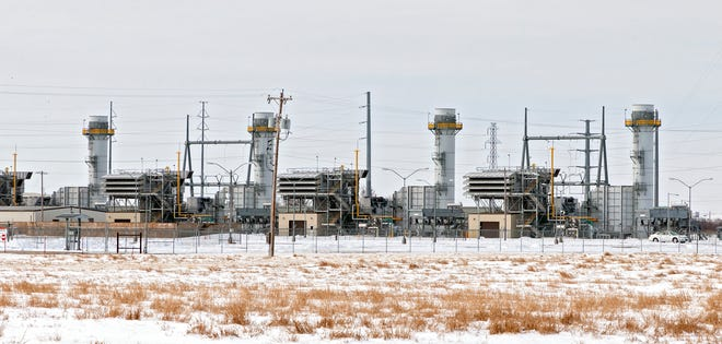 Natural gas turbines at Oklahoma Gas and Electric Co.'s Mustang Energy Center put power onto the grid during February's winter storm.