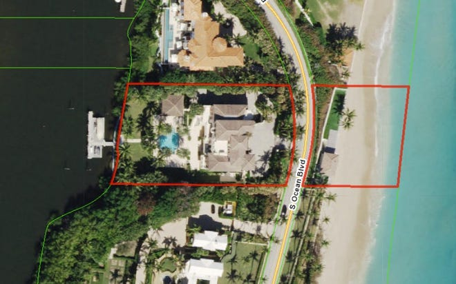 Outlined in red, an ocean-to-lake property at 1560 S. Ocean Blvd. in Manalapan has sold for a recorded $26.2 million.