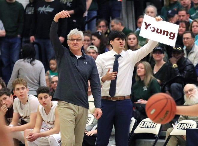 Jim Mulvey, left, played and coached basketball at Portsmouth High School, and now his son, John, who played for his dad, is following in his footsteps as the current coach.