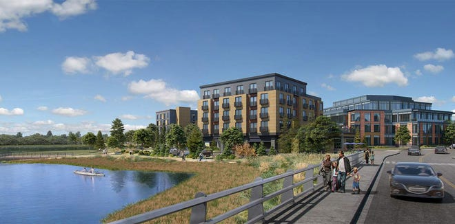 A five-story hotel and a five-story mixed-used building are seen as proposed side by side on Raynes Avenue on North Mill Pond in Portsmouth. The plan calls for knocking down three existing buildings.