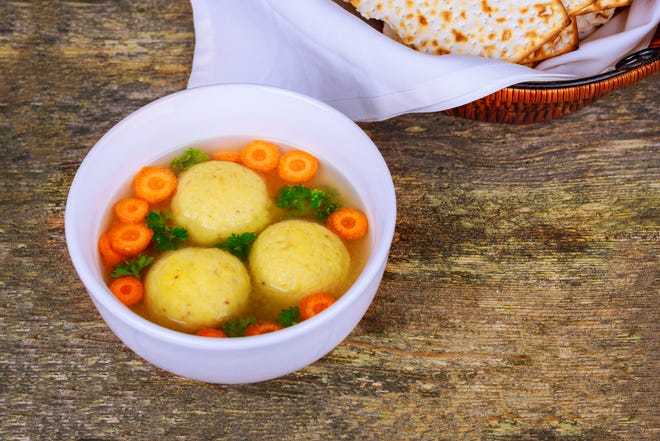 Passover-ready matzo ball soup, prepared by Potions in Motion.