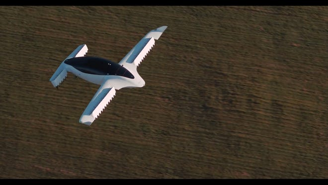 The Lilium Jet, as seen in a video presented to Palm Beach County commissioners on Tuesday. Commissioners supported Lilium and Ferrovial to launch their air taxi service in Palm Beach County.