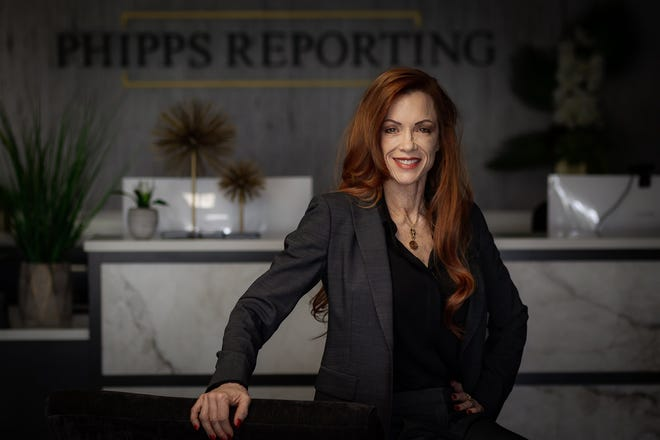 Christine Phipps, North Palm Beach, at her offices of Phipps Reporting in West Palm Beach, on Tuesday.