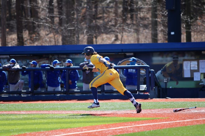 Kent State senior Michael Turner takes off after making contact during a game against Seton Hall played earlier this month at Schoonover Stadium.