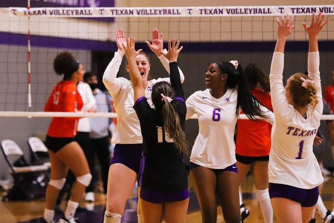 Tarleton volleyball players celebrate their second straight match with a convincing sweep over UTRGV on Monday at the Wisdom Volleyball Gym (25-17, 25-15, 25-13).