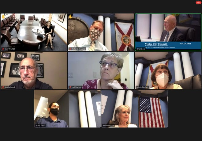 Venice City Manager Ed Lavallee, top row right, talks to the Venice City Council about the last time a charter review board met. Pictured top row from left, City Attorney Kelly Fernandez, Vice Mayor Rich Cautero and Lavallee. Second row from left: Mayor Ron Feinsod, City Clerk Lori Stelzer, Council Member Mitzie Fiedler. Bottom row: Council Member Brian Kelly, Council Member Helen Moore.
