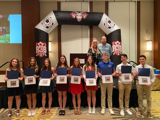 Stacey Monroe and Samuel Monroe join nine Riverview High School soccer athletes who received Andrew Monroe Scholarships, named in honor of their late son, on March 3 at the Hyatt Regency in Sarasota. The athletes, from left: Madelyn Halperin, Allison Kukanza, Caroline Reilly, Christie Gianoplus, Samantha Bickel, Barbara Anne Harper, Joseph St. Onge, Tyler Hockett and Nicholas Coelho.