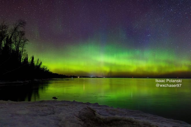 Northern lights at Whitefish Point, Michigan on Friday, March 19.