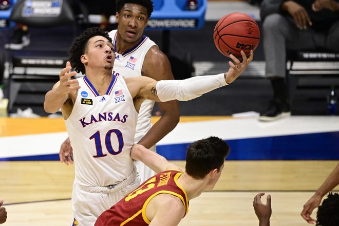 Kansas forward Jalen Wilson (10) announced Friday that he has removed his name from the NBA draft and will play his sophomore season with the Jayhawks.