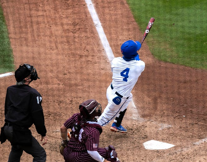 Florida outfielder Jud Fabian homers in the seventh inning in Game 3 Saturday against Texas A&M at Florida Ballpark. Florida swept the series with its 8-4 win. Fabian was named Co-Player of the Week in the SEC on Monday.