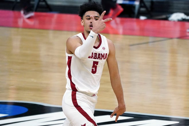 Mar 22, 2021; Indianapolis, Indiana, USA; Alabama Crimson Tide guard Jaden Shackelford (5) reacts in the second half against the Maryland Terrapins  in the second round of the 2021 NCAA Tournament at Bankers Life Fieldhouse. Mandatory Credit: Kirby Lee-USA TODAY Sports