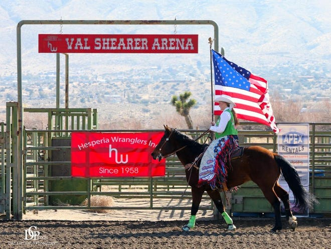 Lexus Hampton makes her first appearance on horseback as 2021 Miss Hesperia Wranglers at the club's March gymkhana.