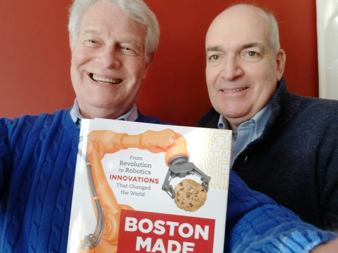 Dr. Robert Krim of Newton, left, and Alan Earls of Franklin collaborated on a new book, 'Boston Made: From Revolution to Robotics-Innovations that Changed the World.' It is now available from various sources, including Amazon and Barnes & Noble.
