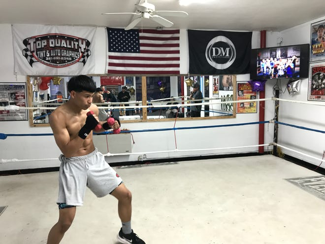Local boxer Troi Garica trains for the upcoming USA Boxing National Championships at the Duke It Out Boxing gym in Corpus Christi, Texas on Monday, March 22, 2021.