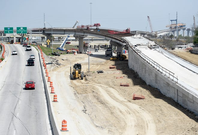 Construction continues for the new Harbor Bridge, Tuesday, March 23, 2021.
