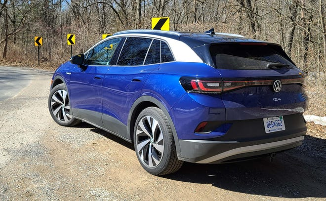 Not a box. The 2022 VW ID.4 offers softer, swoopier lines than its cousin, the gas-powered Tiguan.